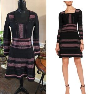 M by MISSONI metallic pink & black knit dress.